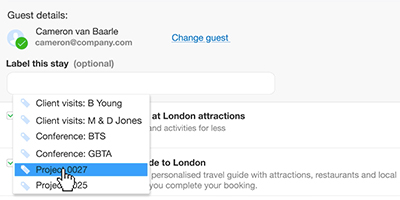 Adding labels to your bookings